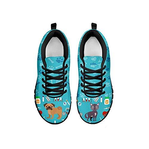 Coloranimal, Zapatillas de Deporte de Moda para Mujer, Gimnasio, Deporte, Correr, Correr, con Cordones, Pisos, Novedad, Enfermera, atlético, IR fácil para Caminar, Zapatos Antideslizantes EU39