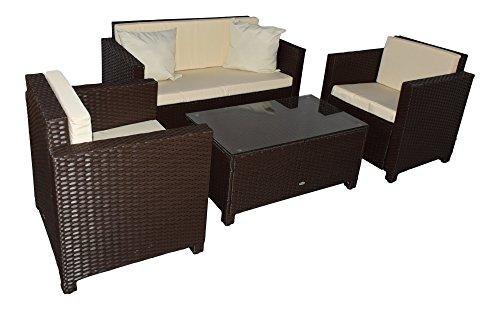 Jet-line Gartenmoebel Garten Lounge Set Sitzmoebel Cannes braun Rattan Lounge Polyrattan Gartenausstattung braun Terrase Balkon Möbel Sofa Sessel Tisch Polyrattan Wetterbeständig Sitzgruppe