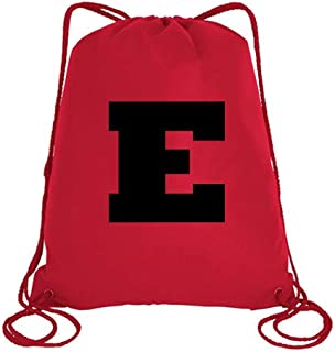 IMPRESS Drawstring Sports Backpack Red with Rockwell Letter E