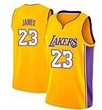 NBA Lebron James, NO.23 Lakers Retro, Camiseta de Jugador de Básquetbol, Bordado Transpirable y Resistente al Desgaste Camiseta de Fan de Hombres (Amarillo,M (175cm/65-75kg))