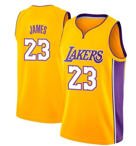 Basketballtrikot für Herren Lebron James #23 - NBA Lakers, Neu Stoff Bestickt Swingman Jersey Hemd (Größe: M-XXL)
