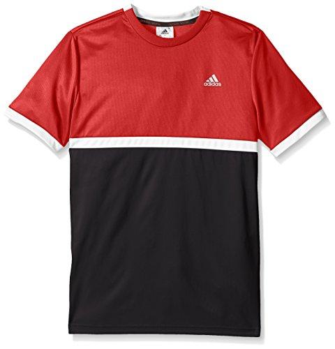 adidas Boys Tennis Court Tee, Scarlet/White/Black, Small