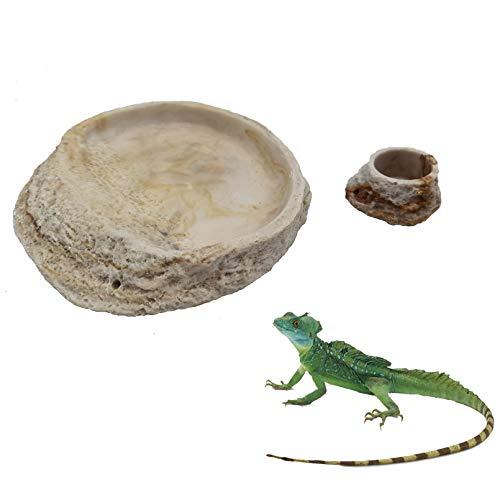 Tfwadmx Reptile Feeding Bowl,Resin Lizard Food Water Dish Rock Feeder for Leopard Gecko Beared Dragon Spider Scorpion Turtle Chameleon-(2Pcs)