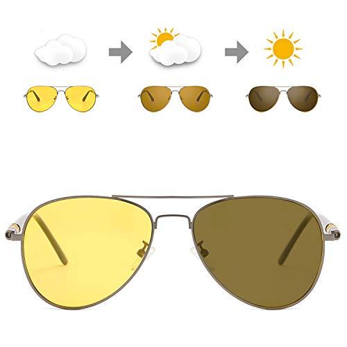 SODQW Aviator Photochromic Night-Vision Glasses, Polarized Outdoor...