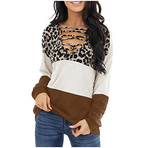 IHGWE Camisa de manga larga para mujer, diseño de leopardo, cruzado, color bloque túnica, jersey para mujer marrón S