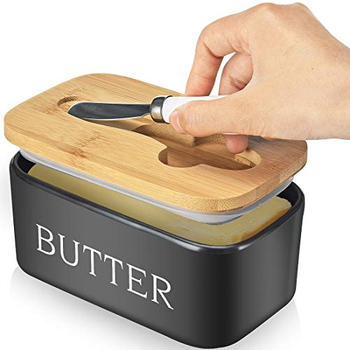 Large Butter Dish with knife Holds Up to 2 Sticks Ceramics Butter Keeper Container with Bamboo Lid and Stainless Steel Double-layer Silicone Sealing Butter Dishes with Covers Good Kitchen Gift Black