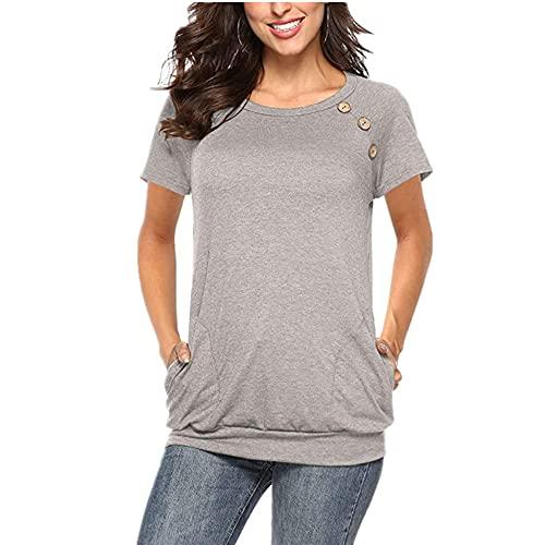 Camiseta Mujer Cómodo Cuello Redondo Manga Corta Camiseta Color Sólido Decoración Botones Elegante Moda Tops Suaves Mujer Casual Sport Tops Mujer con Bolsillos H-Gray L
