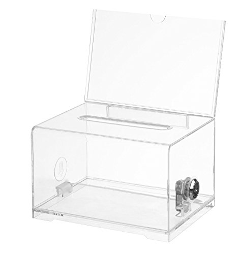 "Adir Acrylic Donation Ballot Box with Lock - Secure and Safe Suggestion Box - Drawing Box - Great for Business Cards (6.25"" x 4.5"" x 4"") - Clear"