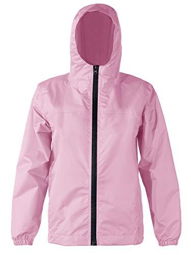 Summer Mae Giacca Antipioggia Impermeabile per Bambini con Tasche Rosa XL