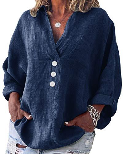 Yidarton Bluse Damen Langarm Oberteil Casual V-Ausschnitt Tops Tunika Lose Baumwolle Große Größen Hemd Leinenbluse (Marine, 4XL=(EU 46-48))