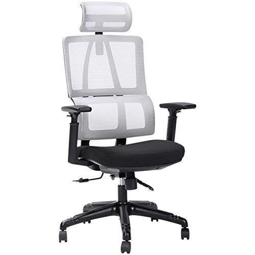 Ergonomic Office Desk Chair High Back Mesh Desk Chair with Adjustable Arm Rests Computer Chair Height Adjustable and Head Support Adjustable Tilt Tension (Color : Gray)