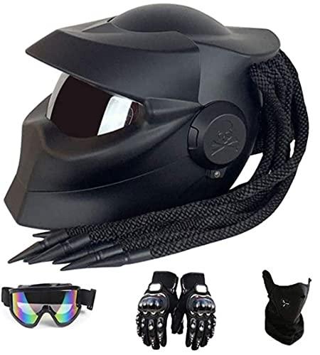 SUNSHXP Casco De Motocicleta, Casco De Motocicleta Predator, Personalidad Casco De Calle De Motocicleta De Cara Completa Apto para Todas Las Temporadas,Dumb Black,XL