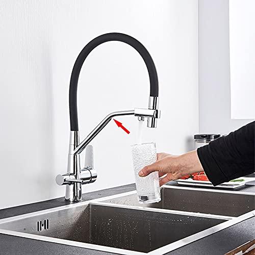 Grifo de la cocina Grifo de agua pura de latón dorado para cocina, grifo de níquel cepillado/negro, grifos de grúa de purificación, grifos mezcladores en frío y caliente