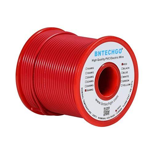 BNTECHGO 26 AWG 1007電線26ゲージPVC 1007ワイヤー撚り線ワイヤーフックアップワイヤー300Vストランド付き錫メッキワイヤーレッド100フィート/リール(DIY用)