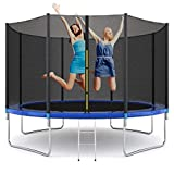 AAROND 12FT Trampoline with Safety Enclosure Net with Spring Cover Padding Trampoline