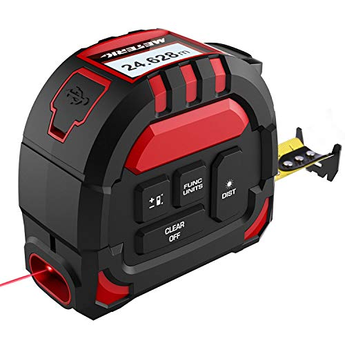 Meterk Laser Tape Measure 2 in 1, Laser Measure 131.2Ft/40M, Measuring Tape 16.5Ft/5M, Multifunctional Laser Distance Meter with LCD Digital Display for Measuring Area/Volume/Pythagorean