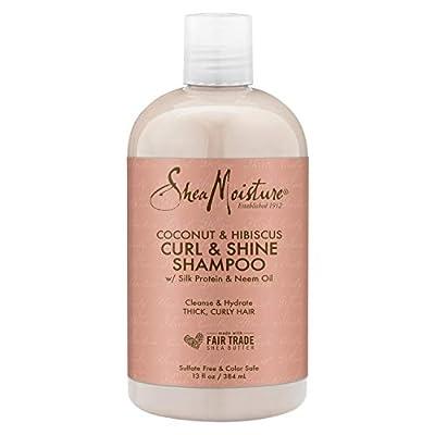 SheaMoisture Curl & Shine Shampoo to Moisturize Hair Coconut & Hibiscus Sulfate Free, Silicone Free 13 oz