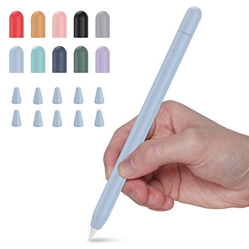 Hülle für Apple Pencil 2, Watruer Duotone Hülle Silikonhülle Haut Kompatibel mit Apple Pencil 2. Generation, iPad Pro 11 12,9 Zoll 2018 - Hellblau