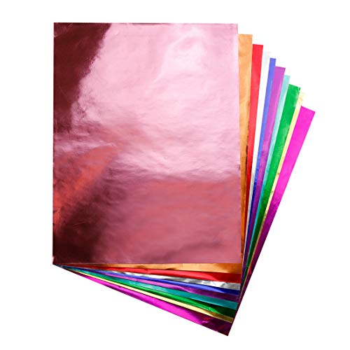 Hygloss Products Metallic Foil Paper Sheets for Arts & Crafts, Classroom Activities & Artists-10' x 13', Assorted Colors