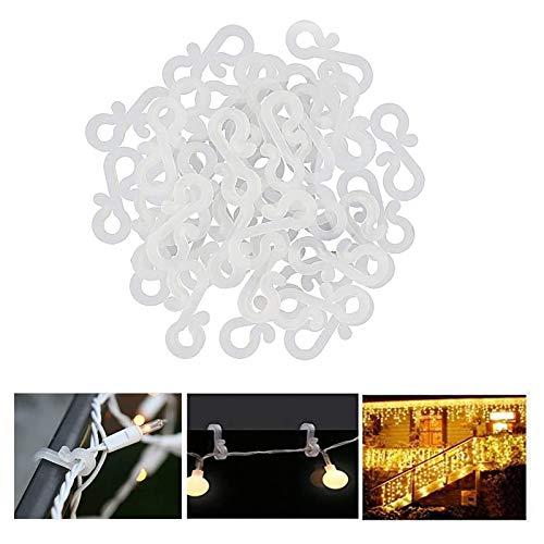 Meetory - 50 Mini Crochets de gouttière en plastique pour suspension de lumière à l'extérieure, guirlande lumineuse de Noël ou tout autre décoration lumineuse temporaire