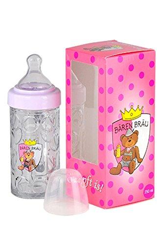 Bärenbräu Baby Trinkflasche Bierkrug Design, Rosa, Bayerische Nuckelflasche, Masskrug, 250 ml, 18 x 7 cm, Deutsches Qualitätsprodukt