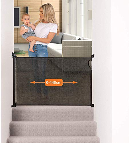 Dreambaby Retractable Baby Safety Gate - Extra-Tall & Relocatable Mesh Gate - Black (0 to 140cm)-Model G9431BB