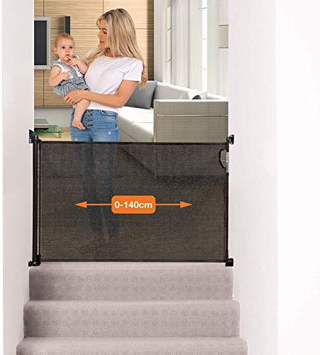 Dreambaby® (0-140cm) - Einziehbares/Einrollbares Tür- und Treppenschutzgitter für Babys und Haustiere. Extra-Hoch, Versetzbar, geeignet für den Innen- und Außenbereich. 2019 Version! (Schwarz)