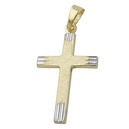 Kreuzanhänger Kommunionkreuz gold 375 Anhänger, Kreuz bicolor, 9 Kt GOLD