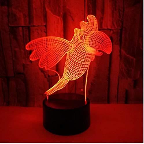 Parrot Animal Bird 3D Illusion Led Lámpara 7&16M Color s Cambiar Nightlight...