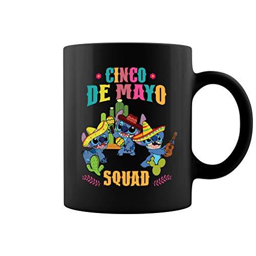Stitch Cinco De Mayo Squad - Taza de café de cerámica, color negro, 11 onzas