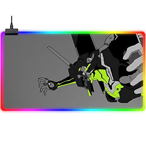 Mauspads Großes RGB Gaming Mauspad Evangelion Anime Graues LED Tastaturpad USB Tischpads XXL (A)