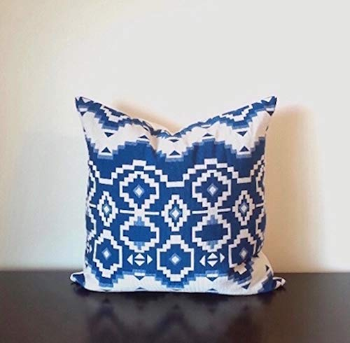 Blue Off White Poly Cotton Geometric Cushion Cover Blue Geometric Pillow Cover White Geometric Throw Pillow Cover Pillow Available In 3 Sizes 12 X20 18 X18 20 X20 Handmade