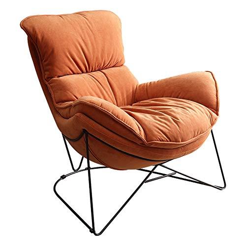 ZSAIMD Terciopelo moderna Tela Lazy Chair, silla de salón de acento contemporáneo, de un solo cuadro de acero silla del ocio del bolso del sofá Silla de espuma de memoria beanless con microgamuza cubi