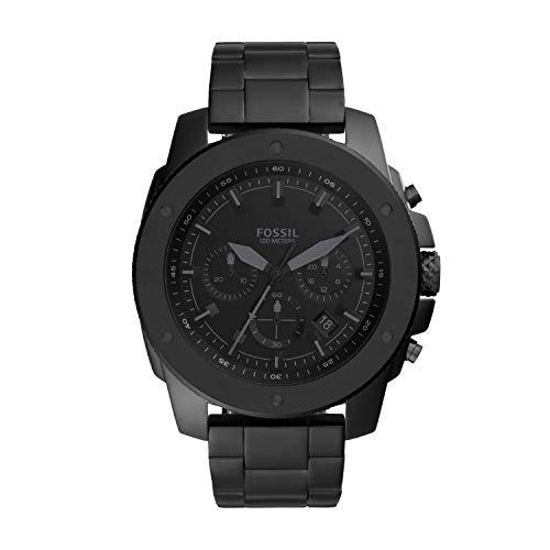 Fossil Men's Mega Machine Quartz Stainless Steel Chronograph Watch, Color: Black (Model: FS5717)
