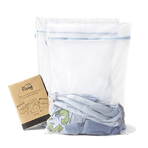 Rising Wäschesack XL (2er Set, recycelt) grobmaschig und feinmaschig für optimalen Schutz empfindlicher Kleidungsstücke – extrem weiches Wäschenetz für Waschmaschinen