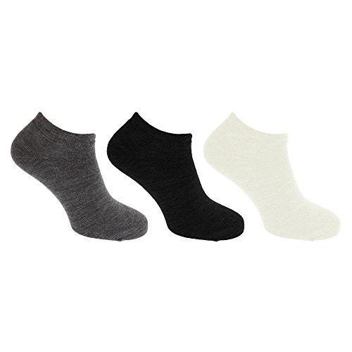 Pertemba Global Calcetines tobilleros modelo Ultimate (paquete de 3 pares) (EU 37-42) (Negro/gris/blanco)