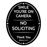 IGNIXIA No Soliciting Sign for House 4' x 5' Inches Smile You are on Camera Sign Digital Printed Oval Shape with Industrial Grade 3M Adhesive No Soliciting Thank You Sign for Front door, window, house / home business / office
