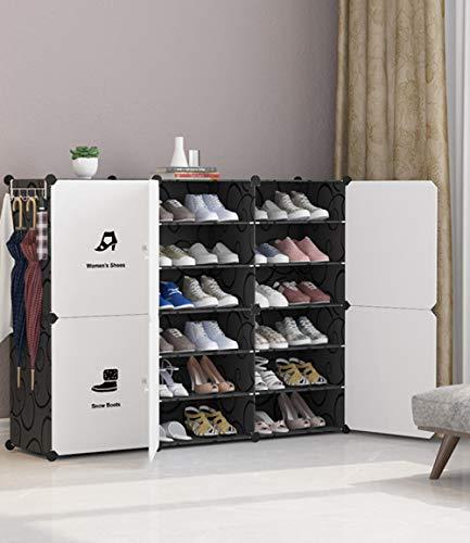 RENEO- Almacenamiento De Bastidores De Zapatos, Organizador De Almacenamiento De Cubos De Plástico, Estante para Gabinete De Zapatos para Ahorrar Espacio, Estantes para Zapatos, Pantuflas