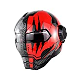 Full face Motorcycle Helmet D.O.T Certified Off-Road Motorcycle Flip Up Helmet Super Personality Retro Style (Red, XL)