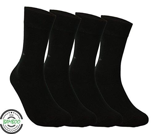 Silken Socks BAMBUS SOCKEN - Superweich & Atmungsaktiv, Nahtlos, Anti Schweiß, Natürliche Bambusfaser für Herren & Damen, Business & Freizeit - Schwarz, (4 Paar)