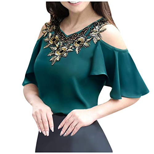 New Top for Women V-Neck Embroidery Patchwork Hollow Out Cold Shoulder Short Sleeve Tee Shirt Tops B...