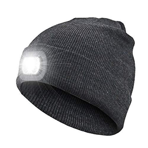 Haibinsuo LED Mütze mit Licht, Beleuchtete Mütze Aufladbar USB für Männer und Frauen, Strickmütze Hut für Joggen, Wandern im Freien, Schnee Schippen, Radfahren in der Nacht Geschenk für Frauen