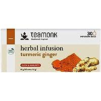 Teamonk Bolsitas de té de infusión de hierbas de jengibre y cúrcuma - 30 bolsitas de té |Hierbas antiguas |Té de hierbas |Té para una piel radiante |Té estimulante de la inmunidad |Sin aditivos