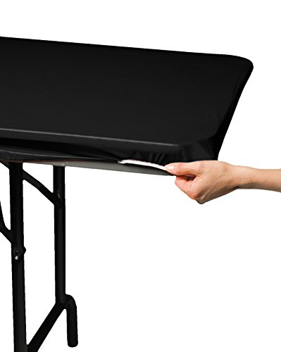 Creative Converting 701000 Stay-Put Plastic Table Cover, 29 by 72', Black