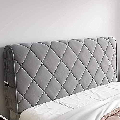 LILAODA - Testiera elasticizzata, super imbottita, resistente alla polvere, antigraffio, lavabile, imbottitura spessa, 180 x 65 cm, colore: grigio