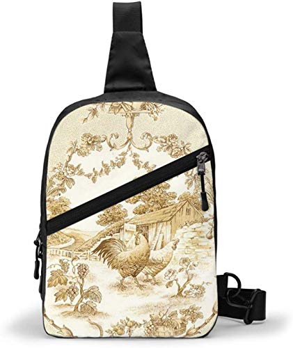 French Country Beautiful Print Rooster Sling Bag,Crossbody Shoulder Chest Outdoor Hiking Travel Personal Pocket Bag for Women Men Water Resistance