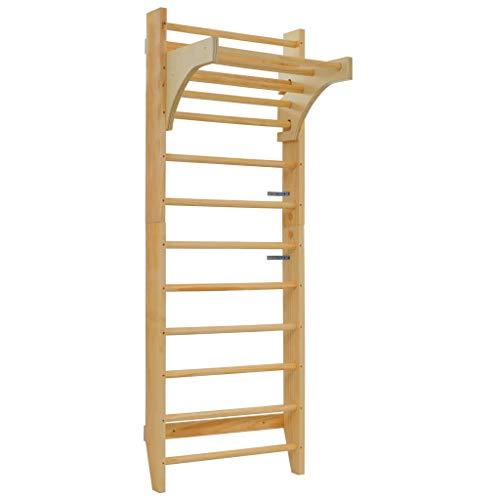 YOMENG Holz Sprossenwand mit Höhenverstellbarer Stange Kletterwand Turnwand Klettergerüst Heimsportgerät...