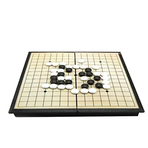NUOBESTY Go Set Reversibler Bambus Go Board Magnetisches Go Game Set Klassisches Chinesisches Strategie Brettspiel Einzelne Konvexe Steine ??Für Kinder Erwachsene Geschenk