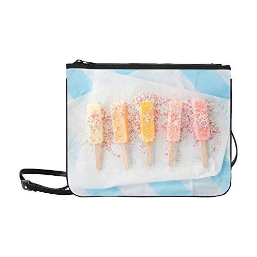 WYYWCY Hausgemachte Vanille Erdbeereis Eis am Stiel Benutzerdefinierte hochwertige Nylon Slim Clutch Bag Cross-Body Bag Umhängetasche