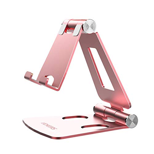 Licheers Handy Ständer, Multi-Winkel Tisch Handy Halterung: Handyhalterung kompatibel mit Phone Xs Max, Xs, XR, X, 8, 7, 6 Plus, Pad Air 2 3 4, Mini 2 3 4 und Geräte von 4-8 Zoll (Rose Gold)